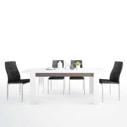 Chelsea Living Extending Dining Table + 6 Milan High Back Chair 4 Colour Options